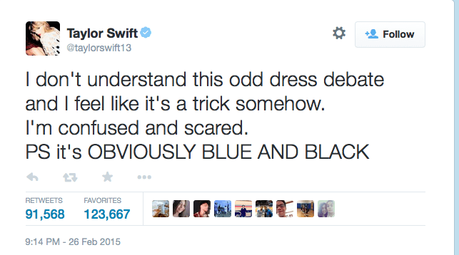 tweet from Taylor Swift about dress