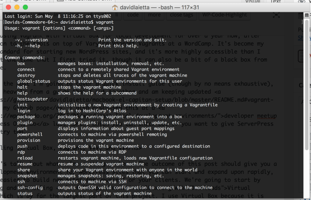 Vagrant installed on Terminal