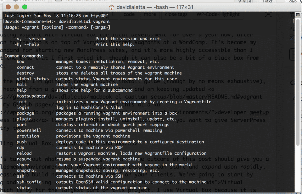 Installing Vagrant, Virtual Box, VVV, & VV On Mac