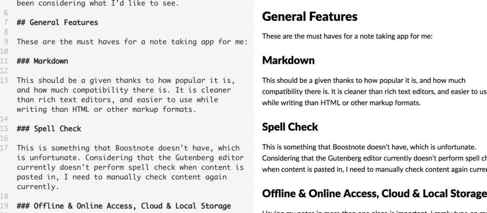 Boostnote markdown screenshot