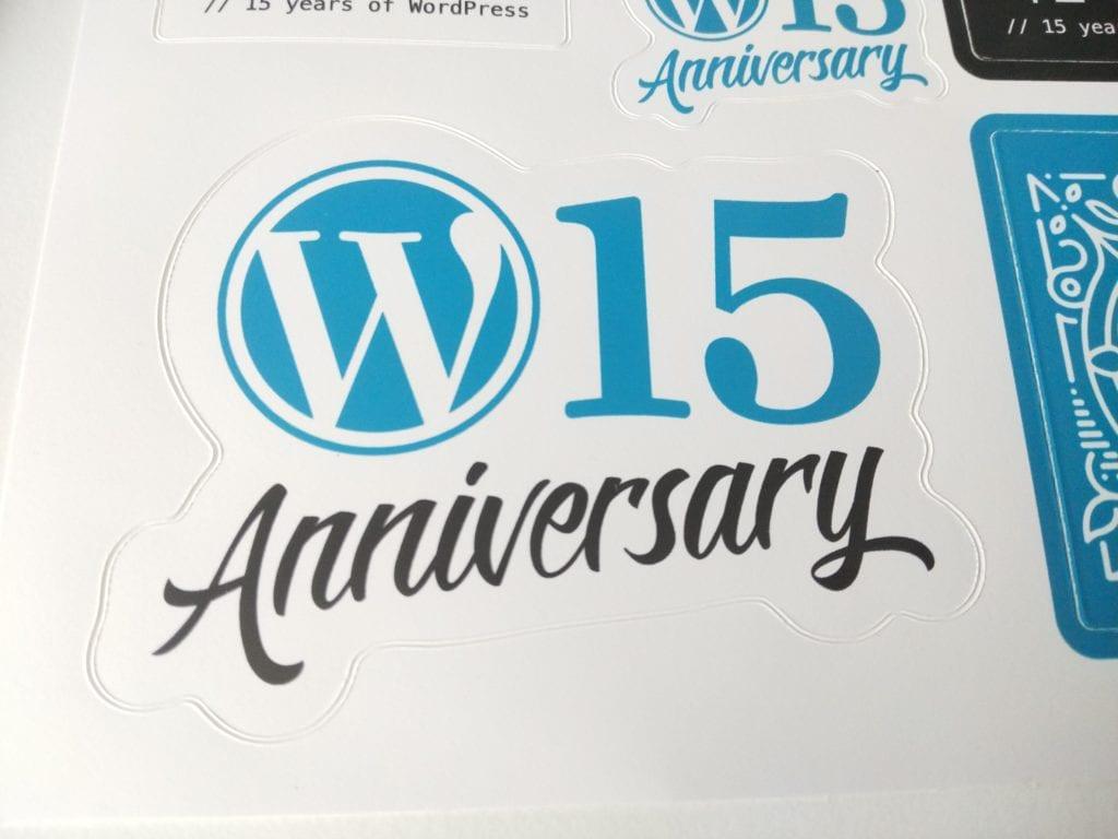 WordPress 15th Anniversary Sticker