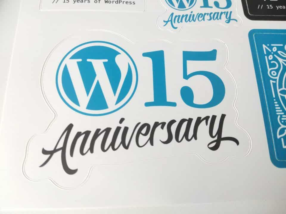 WordPress 15th Anniversary Sticker