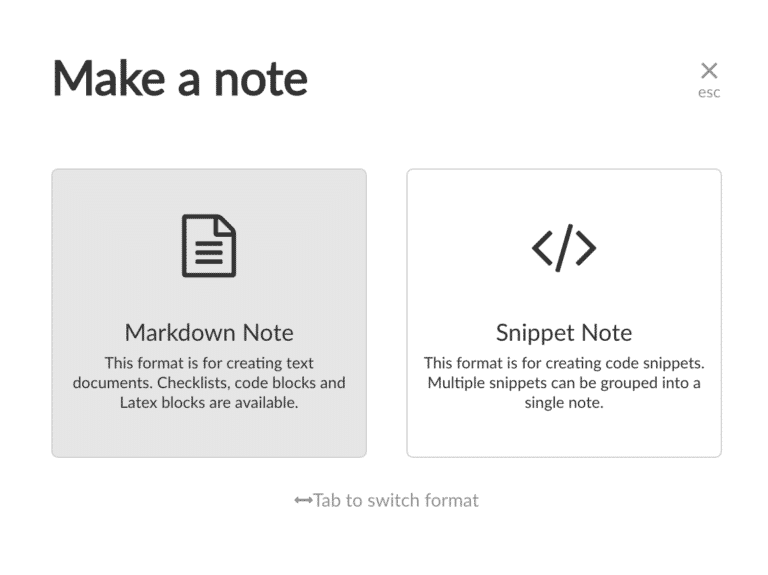 Creating a Markdown Note or Code Snippet