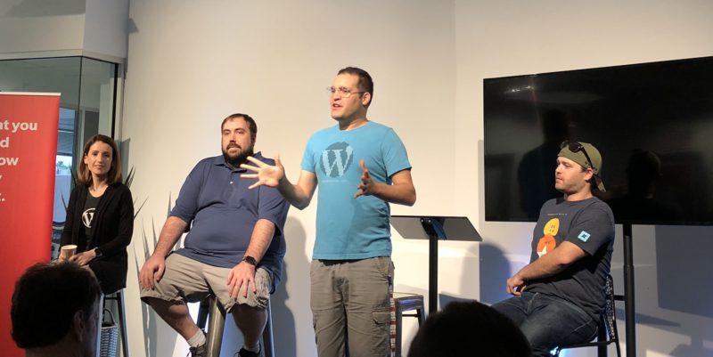 Irina Blumenfeld, Chris Edwards, David Wolfpaw, and Adam Soucie answering WordPress Questions