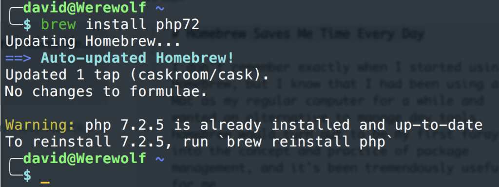 Using Homebrew to install PHP