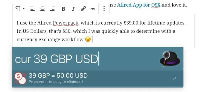 Converting currency from GBP to USD