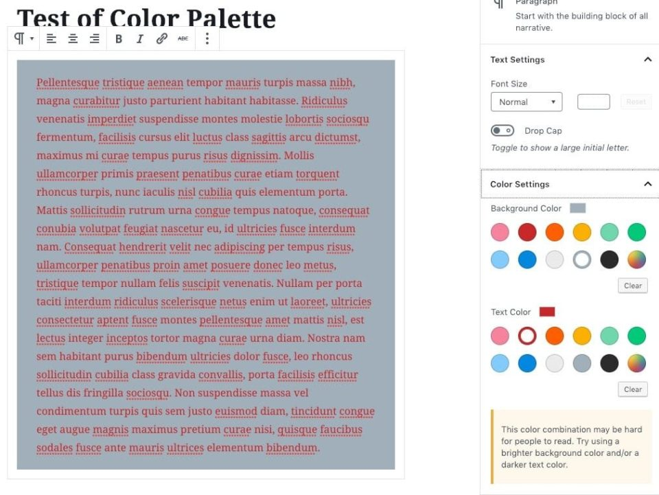 Default WordPress Editor Color Palette