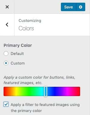 The WordPress customizer with a primary color selection