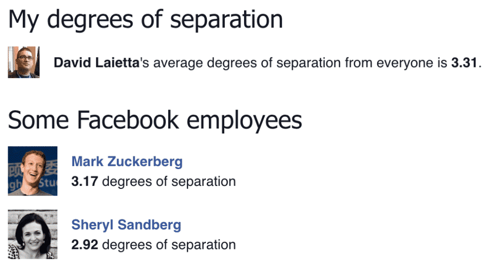 David's Facebook Degrees of Separation