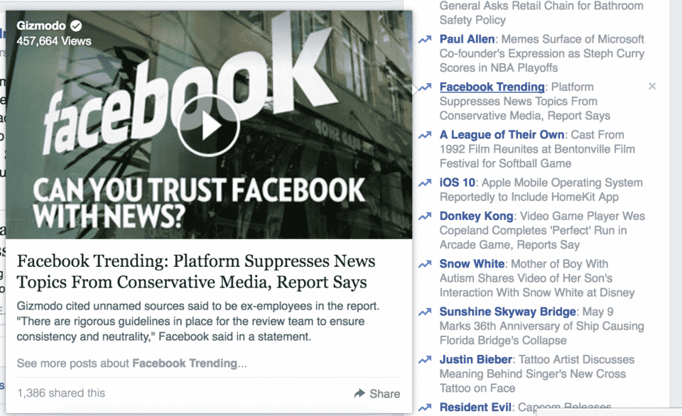 Facebook Trending Topic about Facebook News