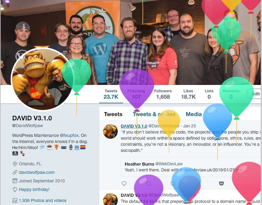 Twitter profile screenshot on my birthday