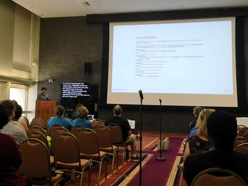 "Aaron D. Campbell delivering his presentation ""The Future: Why the Open Web Matters"" at WordCamp Boston 2019"