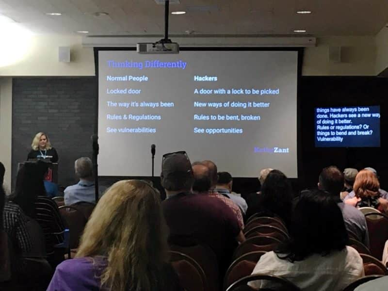 "Kathy Zant delivering her presentation ""The Hacking Mindset: How Beating WordPress Hackers Taught Me to Overcome Obstacles & Innovate"" at WordCamp Boston 2019"
