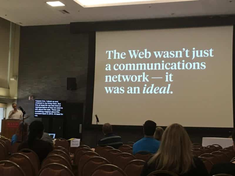 "Ethan Marcotte delivering his presentation ""The World-Wide Work"" at WordCamp Boston 2019"