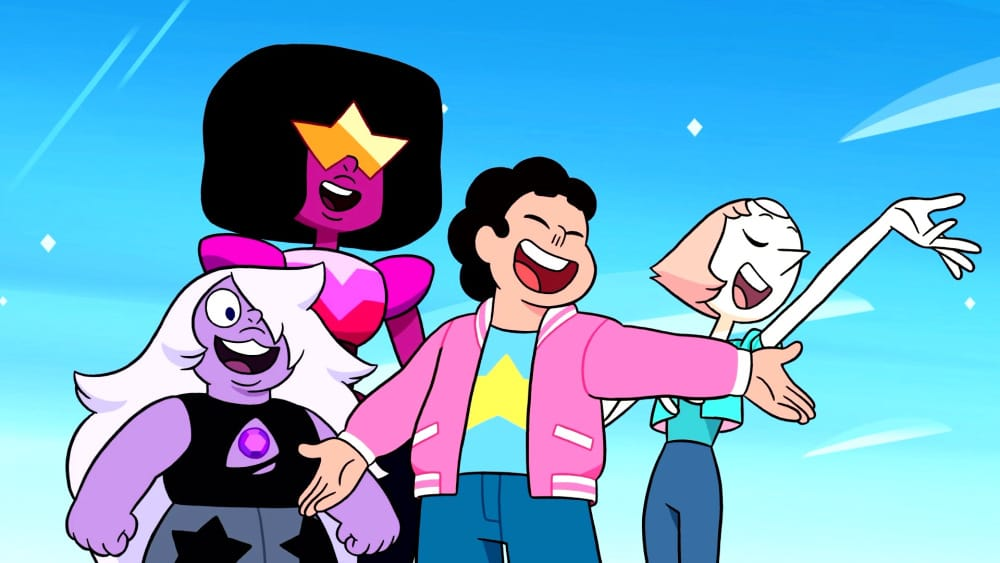 Steven Universe The Movie screenshot of Amethyst, Garnet, Steven, and Pearl
