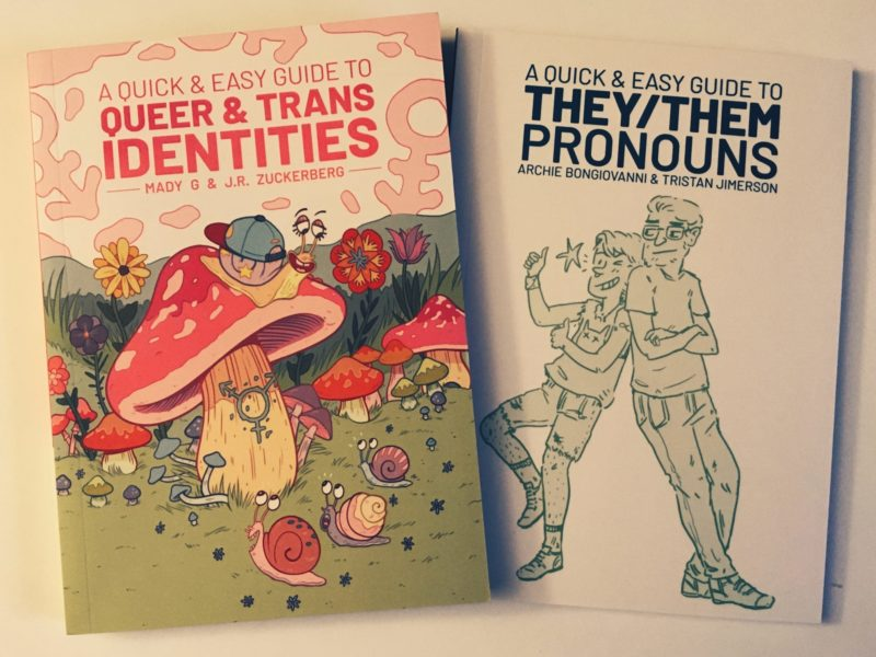 Covers to the books 'A Quick & Easy Guide to Queer and Trans Identities' and 'A Quick & Easy Guide to They/Them Pronouns'