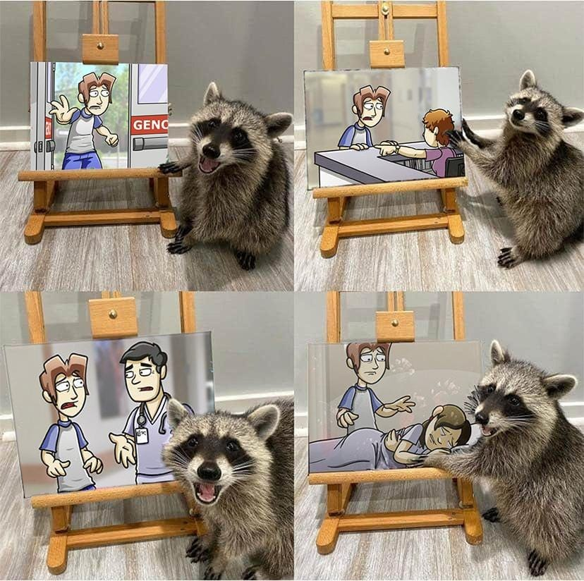 four panel comic of raccoon posing with paintings, but the paintings are pictures of loss.jpg