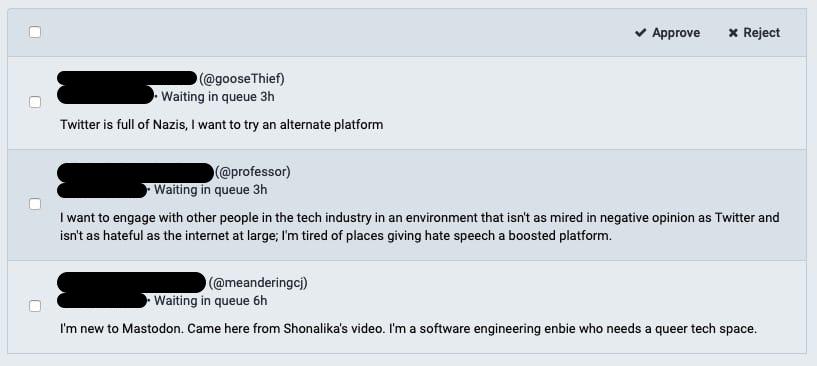 screenshot of Mastodon approvals waiting